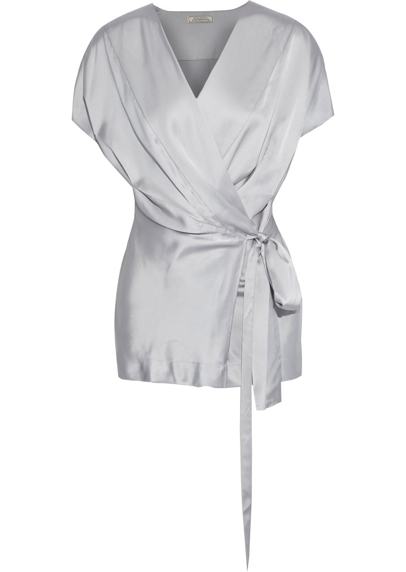 Nina Ricci Woman Satin Wrap Top Light Gray