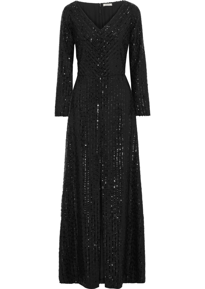 Nina Ricci Woman Sequin-embellished Crepe Gown Black