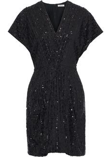 Nina Ricci Woman Sequin-embellished Crepe Mini Dress Black