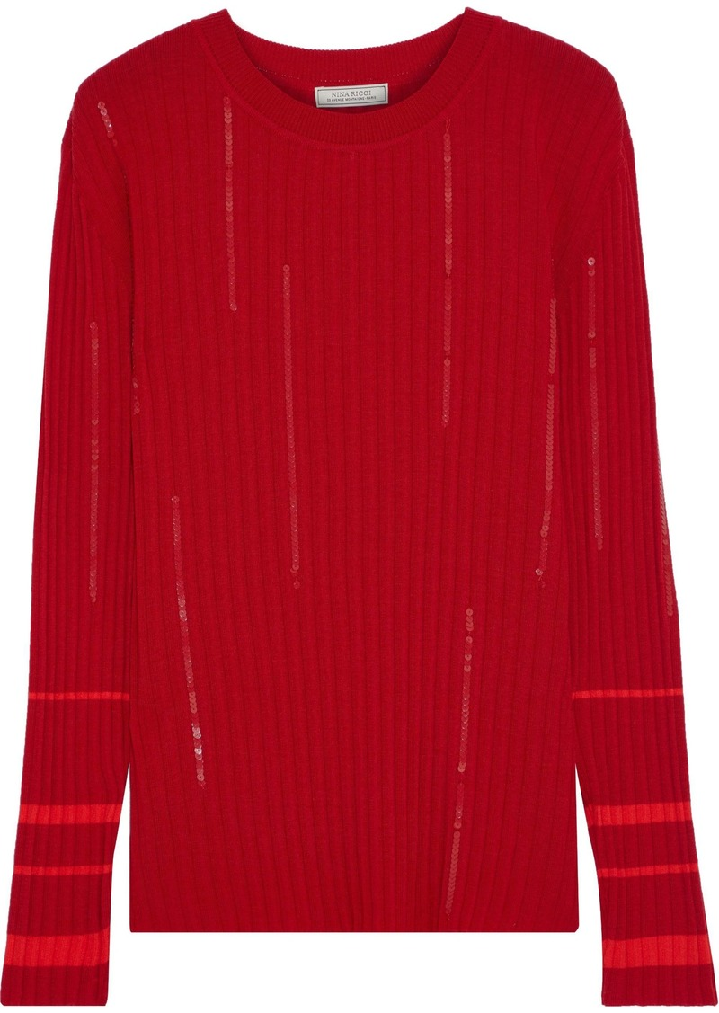 Nina Ricci Woman Sequin-embellished Ribbed Wool-blend Sweater Crimson