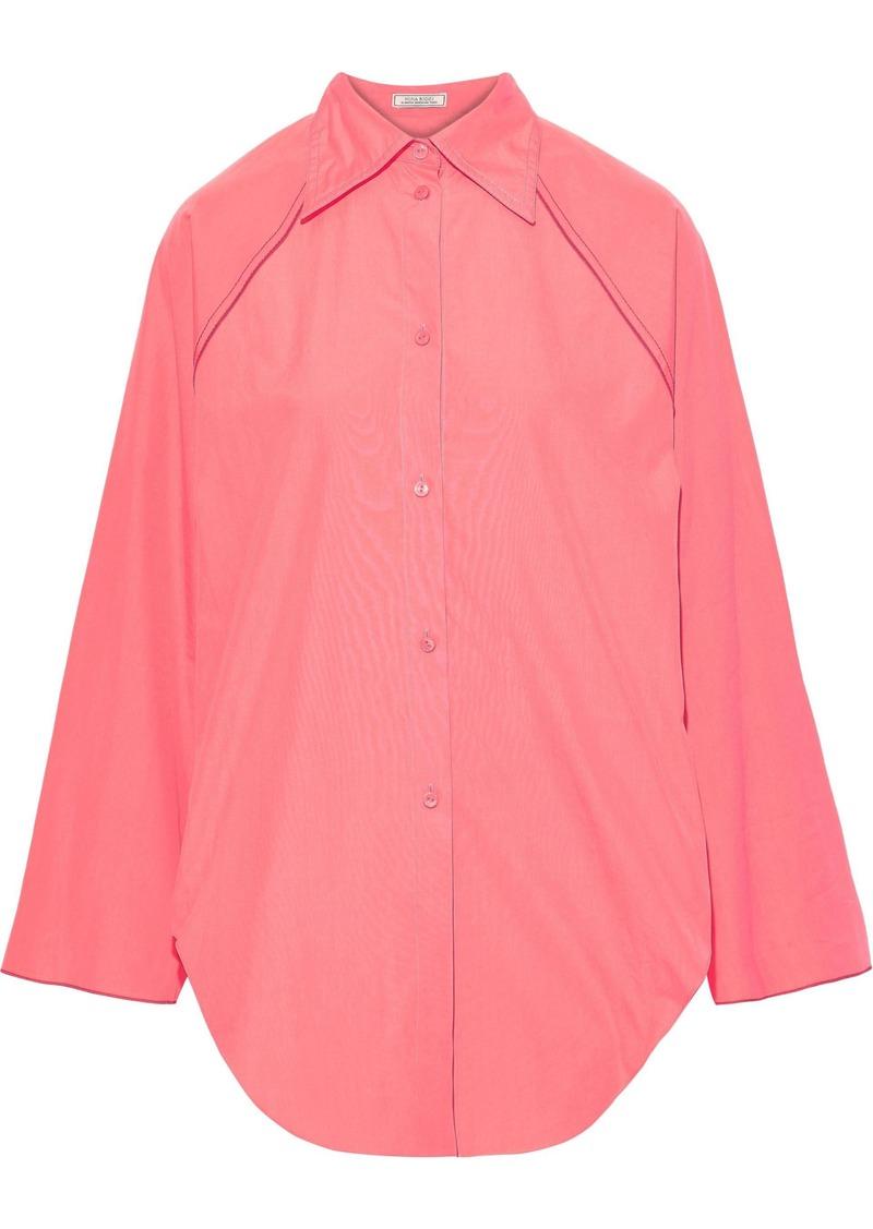 Nina Ricci Woman Shirred Cotton-poplin Shirt Bubblegum