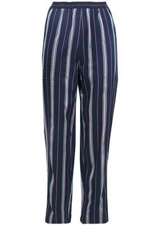 Nina Ricci Woman Striped Satin-jacquard Tapered Pants Navy