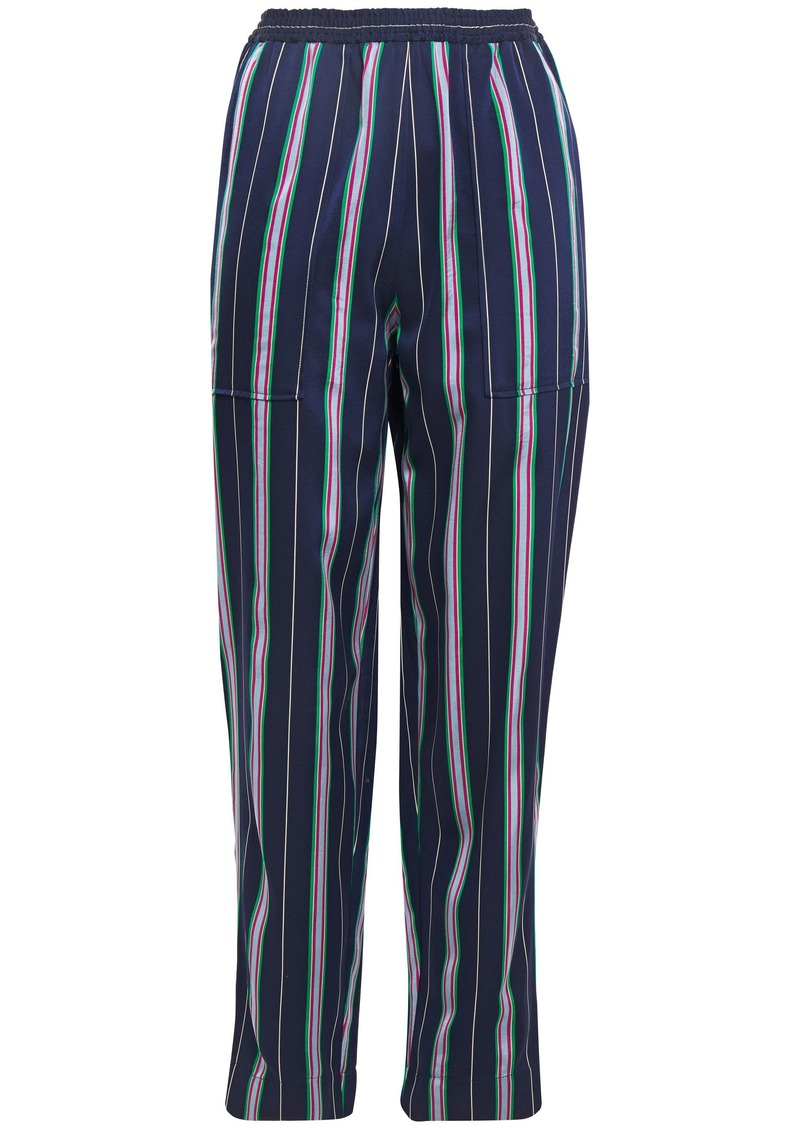 Nina Ricci Woman Striped Satin-jacquard Tapered Pants Navy
