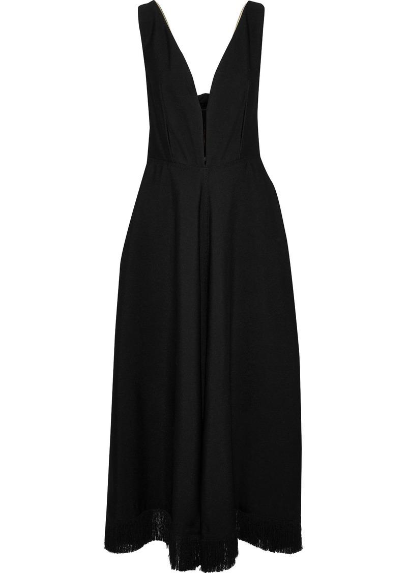 Nina Ricci Woman Tie-back Fringe-trimmed Crepe Maxi Dress Black