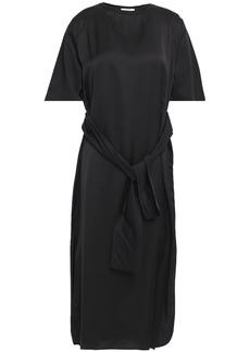 Nina Ricci Woman Tie-front Satin And Cotton-jersey Midi Dress Black