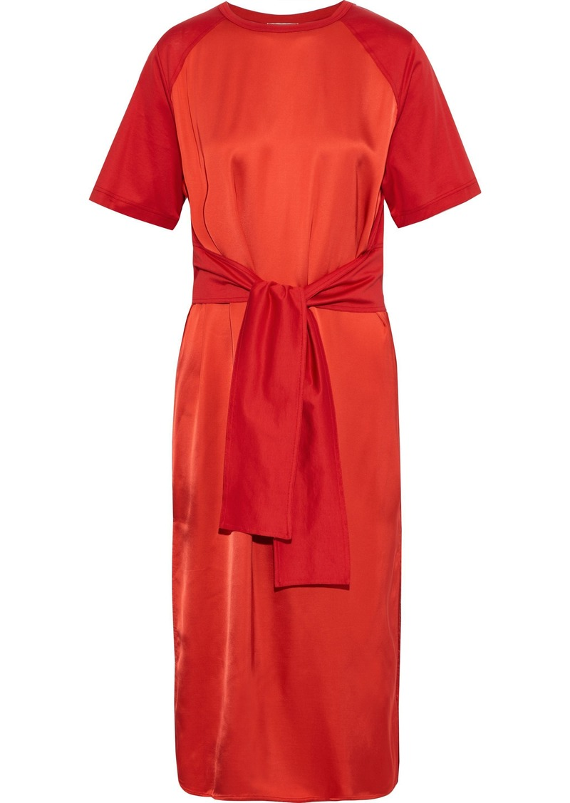 Nina Ricci Woman Tie-front Satin And Cotton-jersey Midi Dress Tomato Red