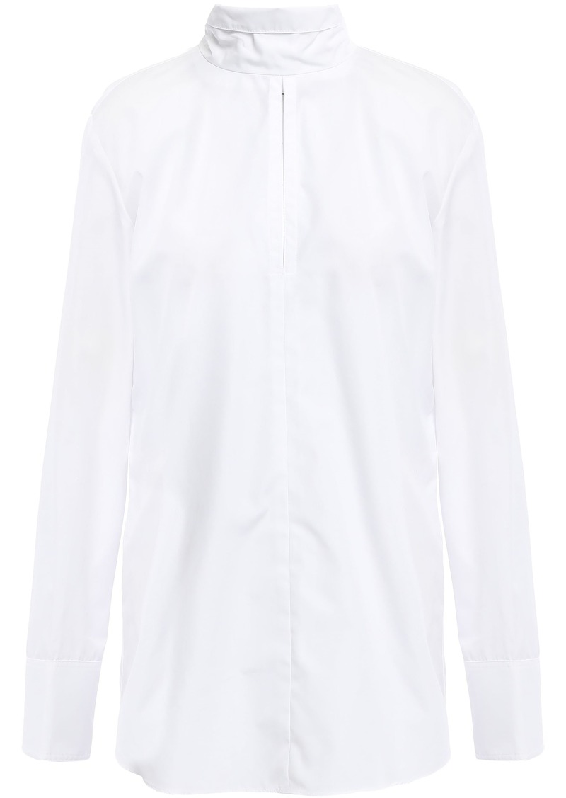 Nina Ricci Woman Tie-neck Cotton-poplin Shirt White