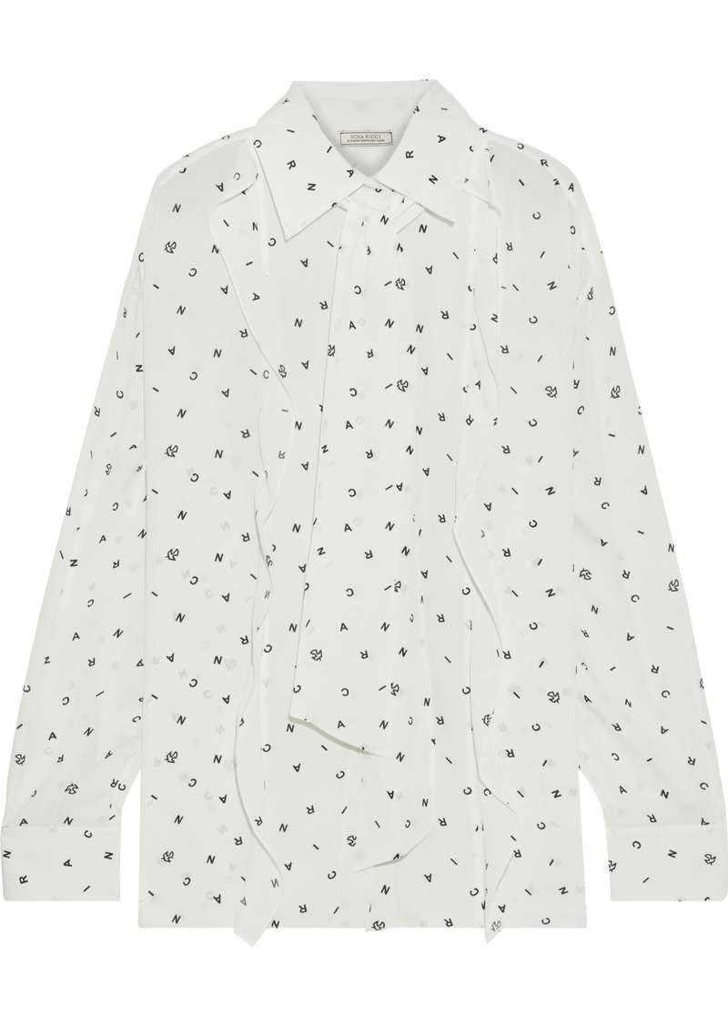 Nina Ricci Woman Tie-neck Printed Crepe De Chine Shirt Off-white