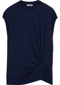 Nina Ricci Woman Twist-front Wool Top Navy