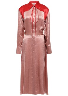 Nina Ricci Woman Two-tone Crinkled-satin Midi Shirt Dress Antique Rose