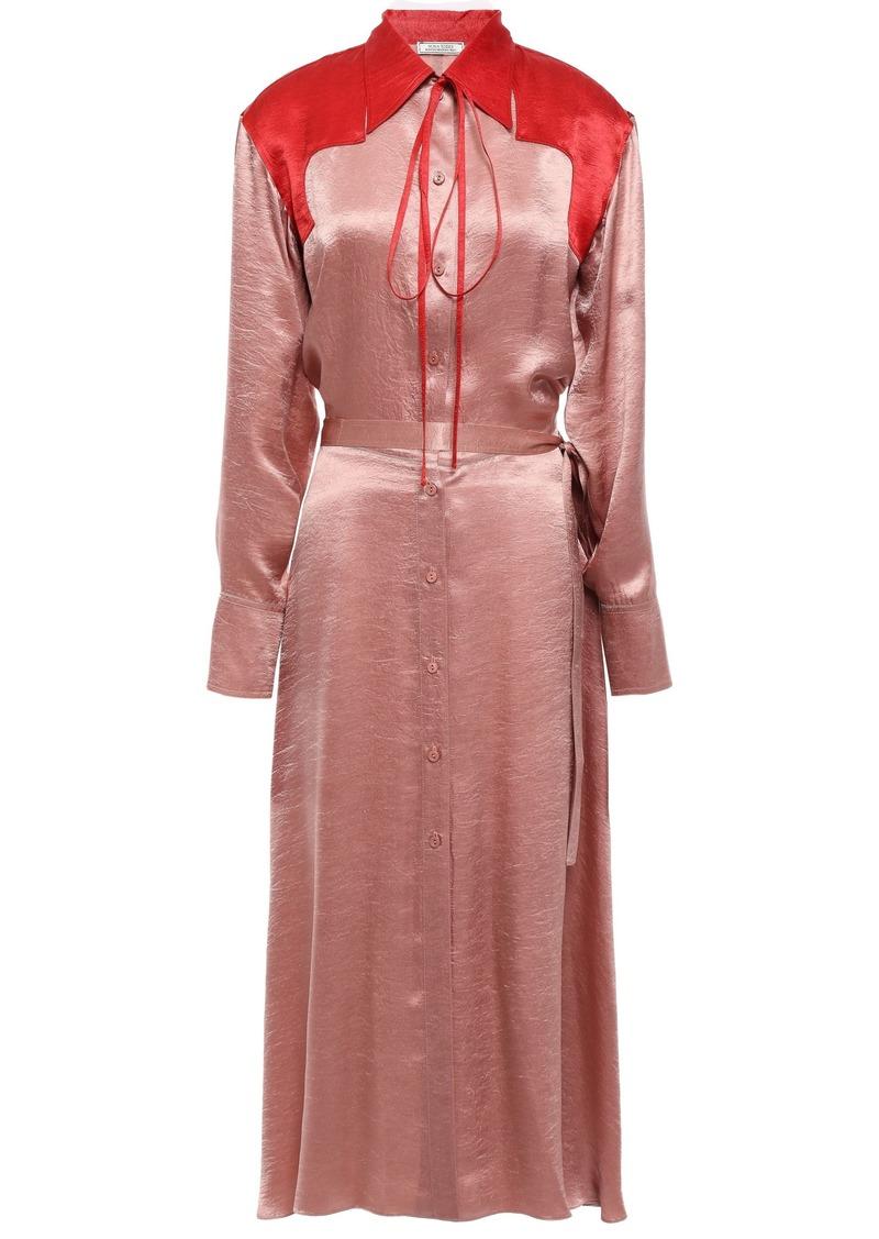 Nina Ricci Woman Two-tone Crinkled-satin Midi Shirt Dress Antique Rose