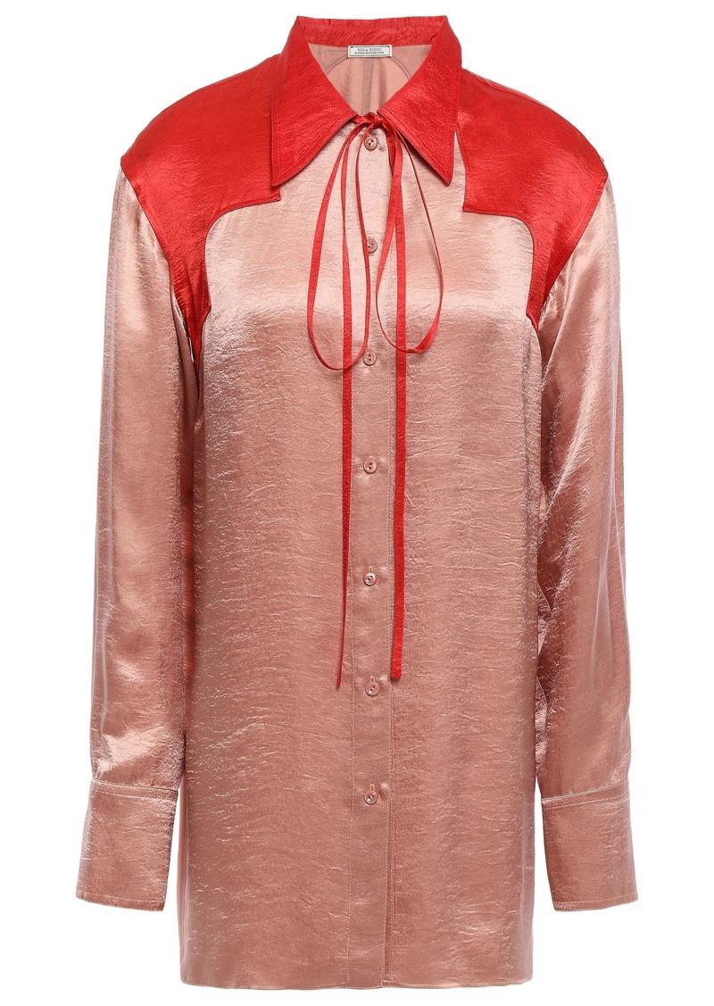 Nina Ricci Woman Two-tone Crinkled-satin Shirt Antique Rose
