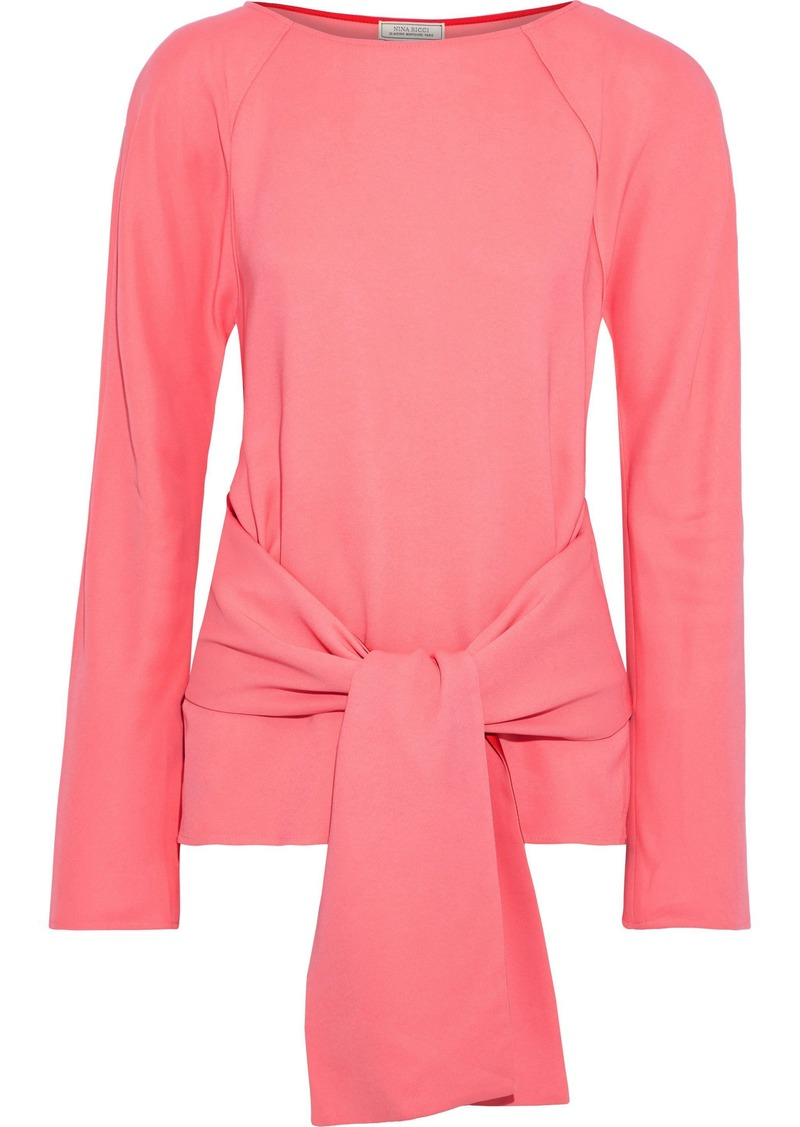 Nina Ricci Woman Wrap-effect Cutout Stretch-crepe Top Bubblegum