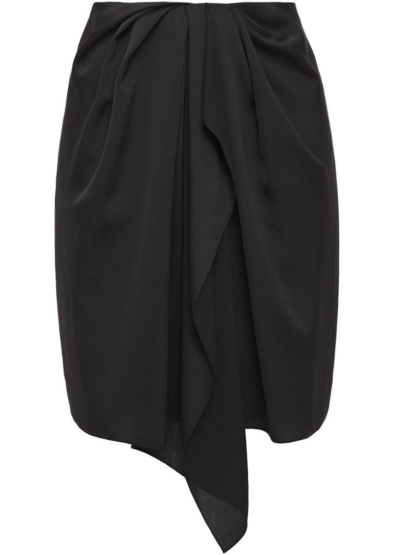 Nina Ricci Woman Wrap-effect Draped Satin-crepe Mini Skirt Black