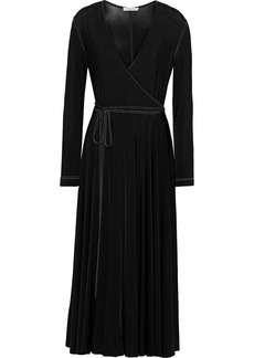 Nina Ricci Woman Wrap-effect Stretch-jersey Midi Dress Black