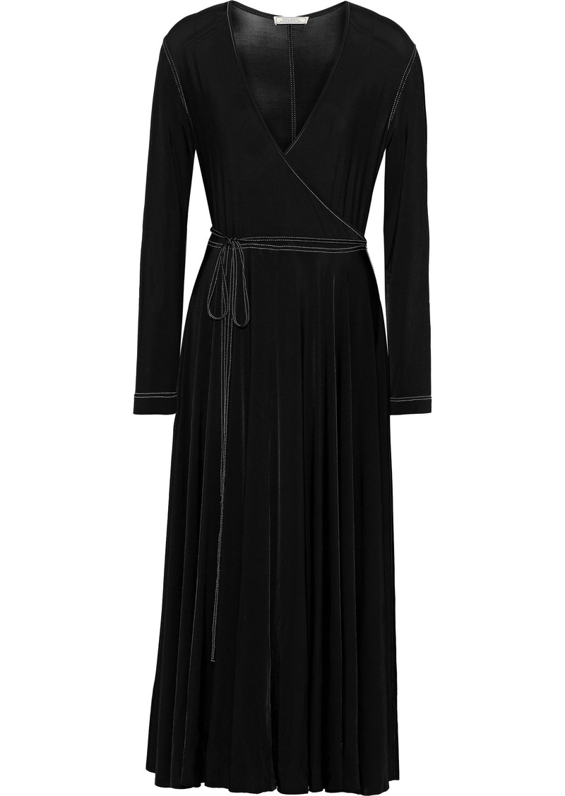 Nina Ricci Woman Wrap-effect Stretch-jersey Midi Dress Black