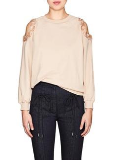 Nina Ricci Women's Embellished Cotton Cold-Shoulder Sweatshirt