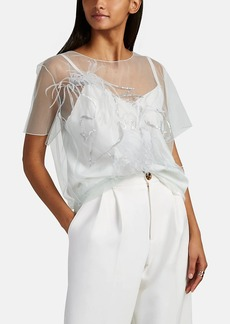 Nina Ricci Women's Sequin & Feather-Embellished Tulle Blouse