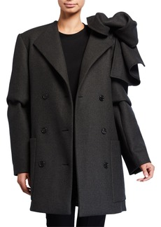 Nina Ricci Wool-Cashmere Bowed-Shoulder Coat