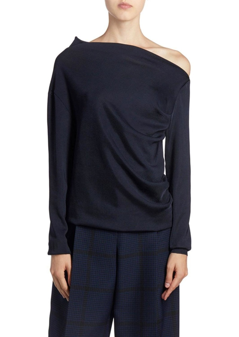 Nina Ricci One-Shoulder Jersey Long-Sleeve Top