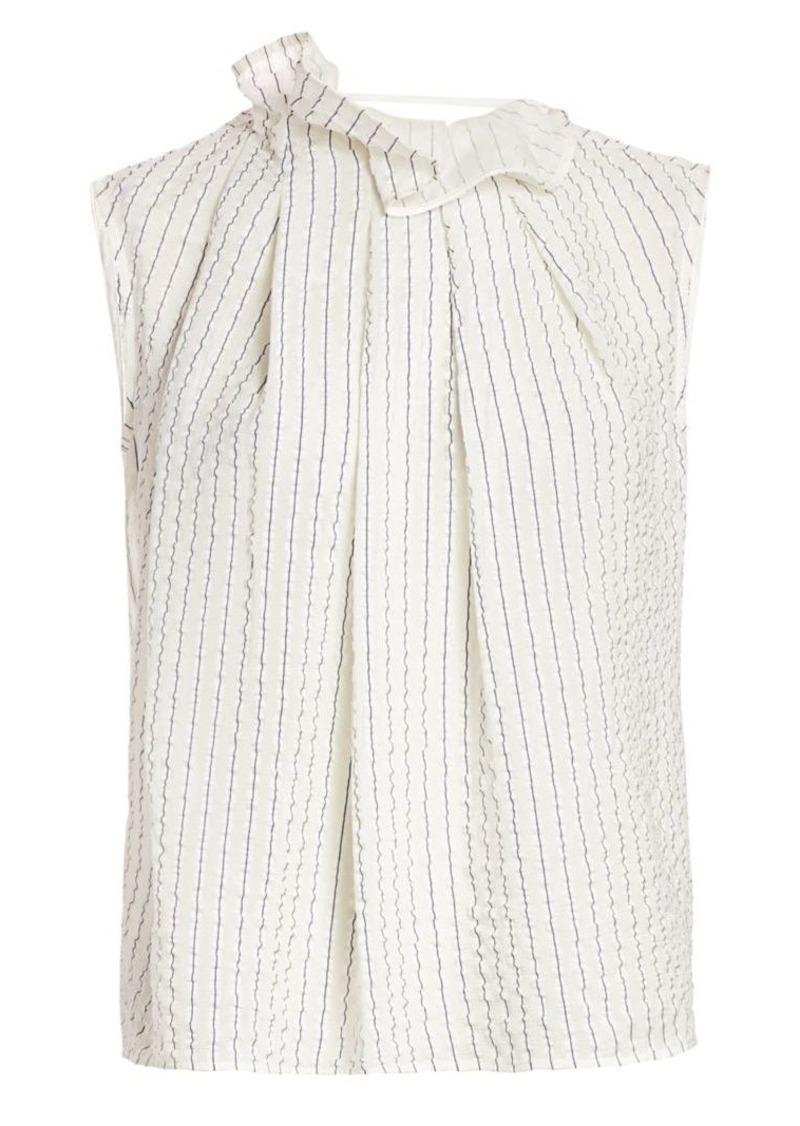 Nina Ricci Pinstripe Ruffle-Neck Silk Top