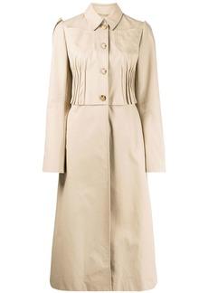 Nina Ricci pleated detail flared single-breasted coat