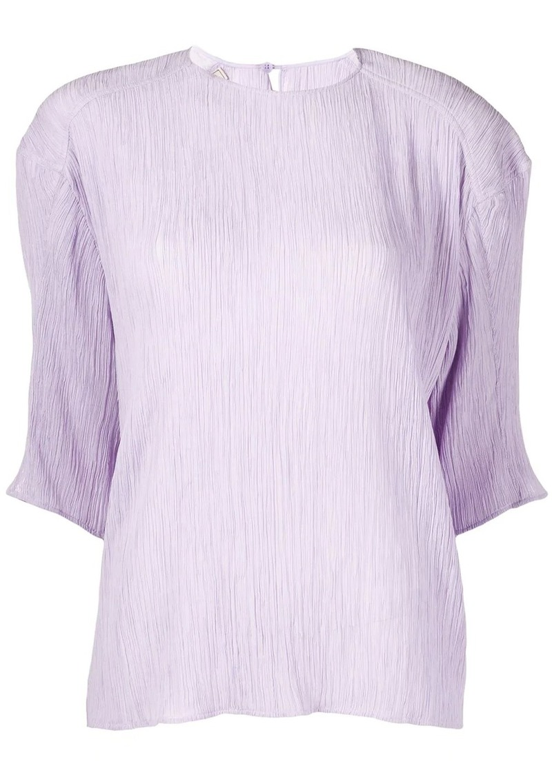 Nina Ricci pleated half sleeves blouse