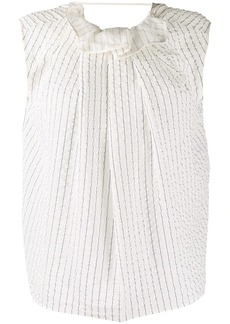 Nina Ricci pleated pinstriped silk top