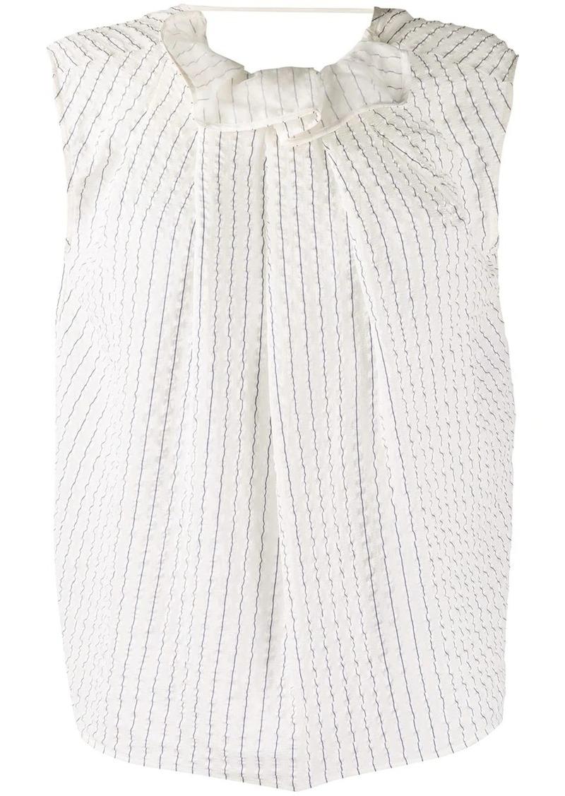 Nina Ricci pleated pinstriped silk top