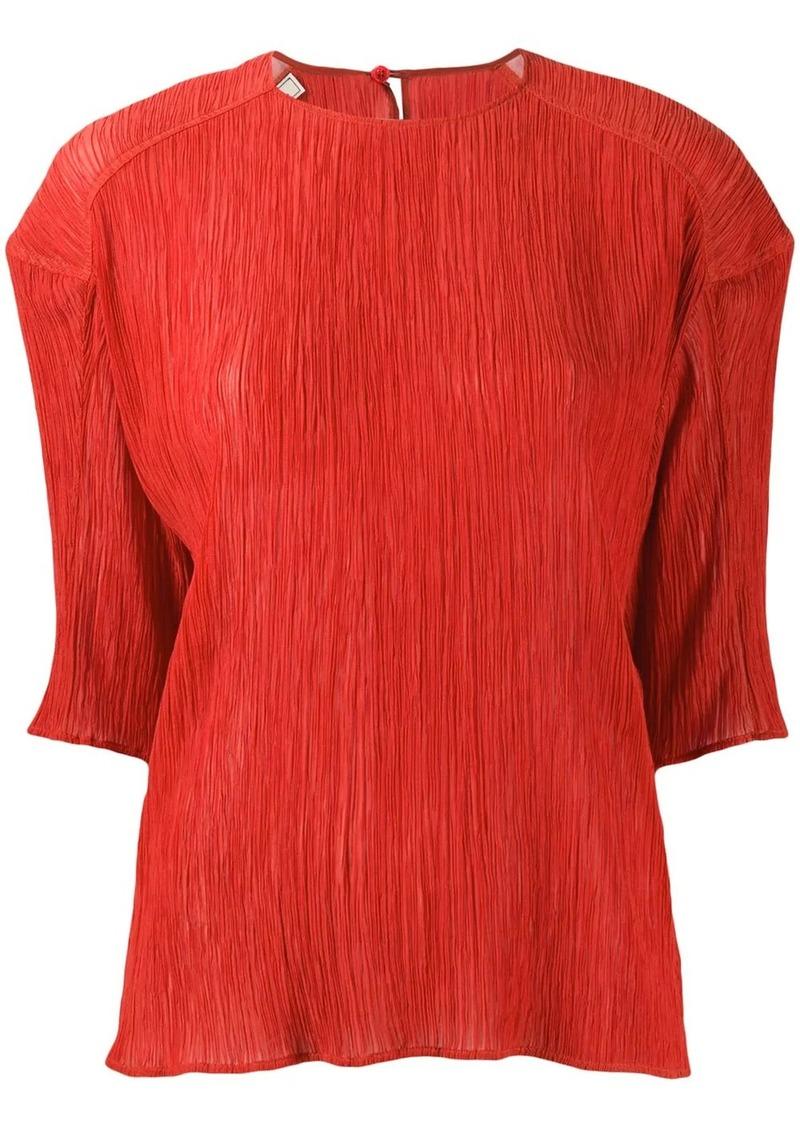 Nina Ricci plissé half-sleeve blouse