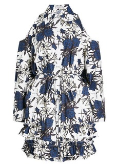 Nina Ricci Printed Cotton Cold Shoulder Dress