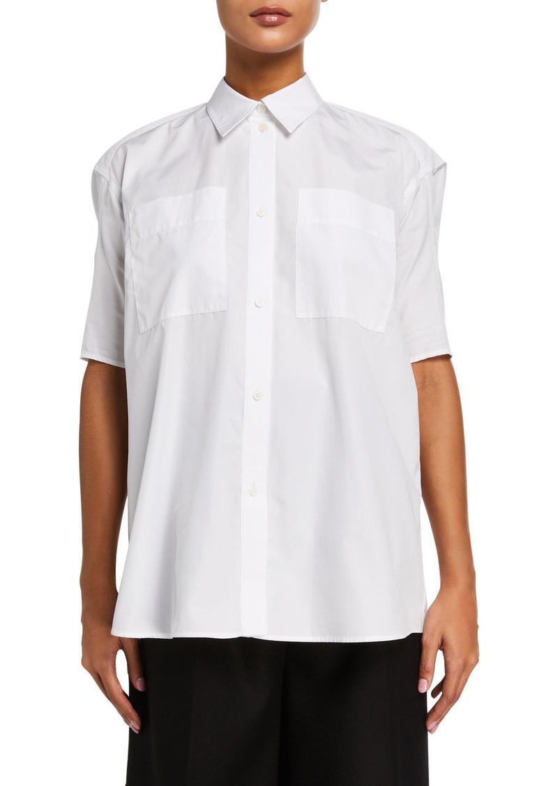 Nina Ricci Puff-Sleeve Poplin Button-Front Shirt