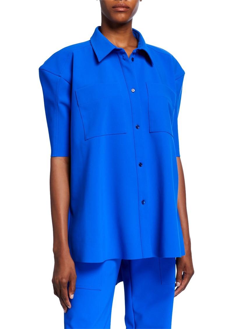 Nina Ricci Puff-Sleeve Scuba Button-Front Shirt