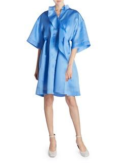 Nina Ricci Ruffled-Silk Oversized Shirtdress