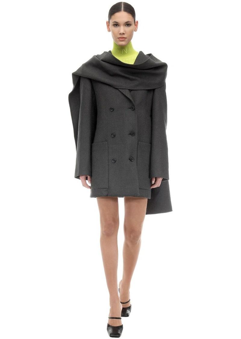 Nina Ricci Scarf Virgin Wool Gabardine Dress Coat