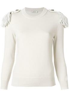 Nina Ricci shoulder fringe fitted sweater