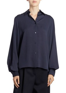 Nina Ricci Silk Button-Front Long-Sleeve Top