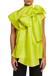 Nina Ricci Silk Draped Bow-Neck Blouse