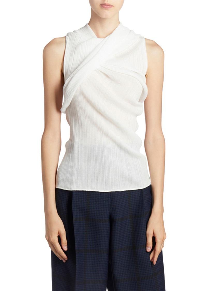 Nina Ricci Sleeveless Ruched-Cotton Top