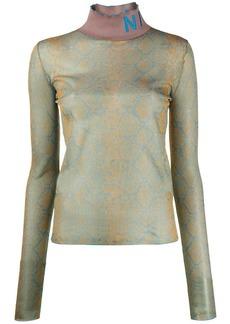 Nina Ricci snake-print mock-neck jumper
