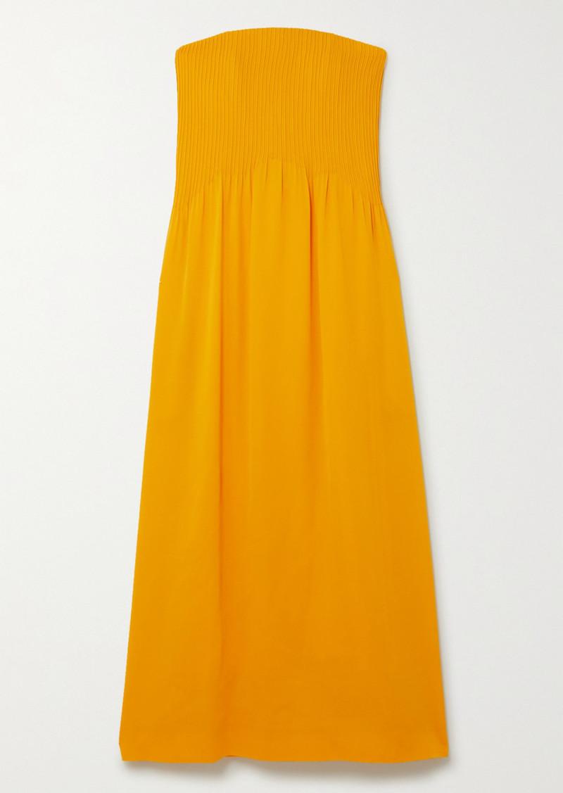 Nina Ricci Strapless Pintucked Silk-crepe Maxi Dress