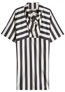 Nina Ricci Striped Silk Dress with Funnel Neckline