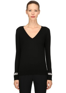 Nina Ricci Wool Knit Sweater W/ Crystal Details