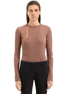 Nina Ricci Wool Knit Sweater W/ Elbow Cutouts
