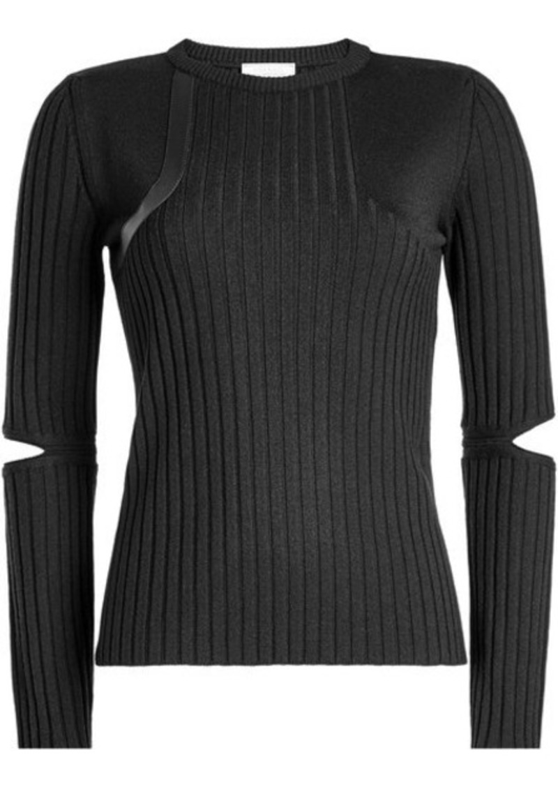 Nina Ricci Wool Pullover with Leather and Cut-Out Detail