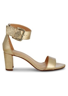 Nine West Crinkled Metallic Ankle-Strap Sandals