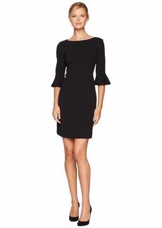 Nine West Drapey Crepe 3/4 Ruffle Sleeve A-Line Dress