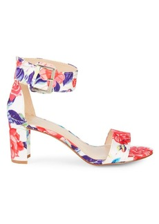 Nine West Floral Stack Heel Sandals