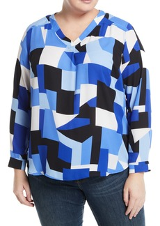 Nine West Geometric Print V-Neck Blouse  Plus Size