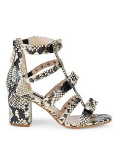 Nine West Giovanna Snake-Embossed Studded Sandals